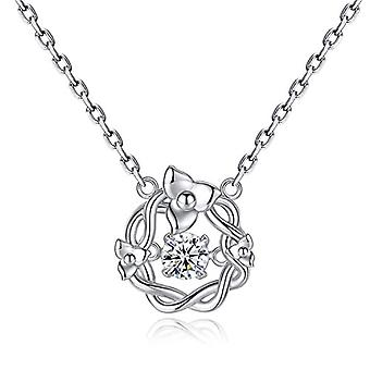 GemShadow Women Girls 925 Sterling Silver Dancing Christmas Zircon Flower Crown Necklace