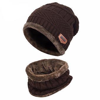 2kpl Lapset Talvi lämmin neulottu hattu huivi setillä