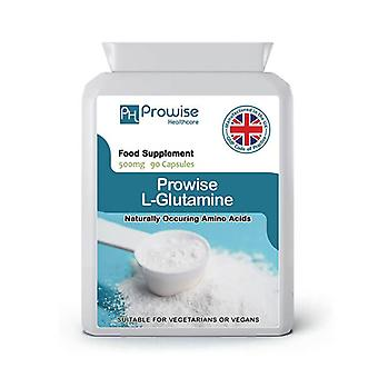L-Glutamine 500mg – 90 Capsules | Suitable For Vegetarians & Vegans | Made In UK by Prowise