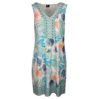 K-design Blue Bold Floral Print Sleeveless Summer Dress