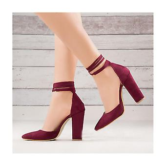 Claret Red Thick Long Heeled Shoes Suede Ra-040