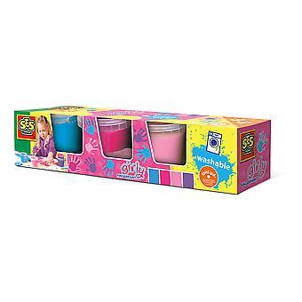 SES Creative - Children's Girly Washable Fingerpaint Set 4 Paint Pots (Multi-colour)