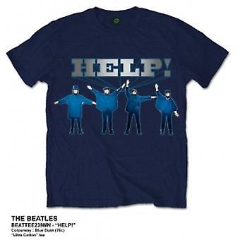 Les Beatles aident silver logo Navy T Shirt: Grand