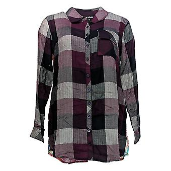 Tolani Collection Women's Petite Top Plaid Tunic Print Back Red A383446