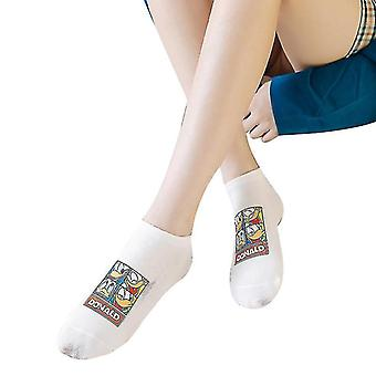 5 Pairs Of Personalized Printing Couple Black And White Mouse Boxed Socks(White)
