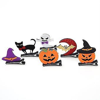 Pumpkin Bat Ghost Masquerade Hair Clips With Hat 6pcs/pack