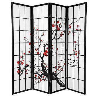 Fine asianliving Japanese Room Divider Shoji W180xH180cm Papier de riz Noir - Fleurs de cerisier Sakura