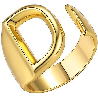 (Gold-D) Initial Letter A to Z 18K Gold Plated Bold Adjustable Women Party Rings Signet Ring
