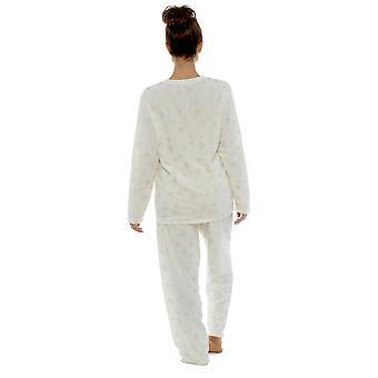 Foxbury Naisten Lumihiutale Glitter Kuvio Fleece Long Twosie - Valkoinen - 12-14