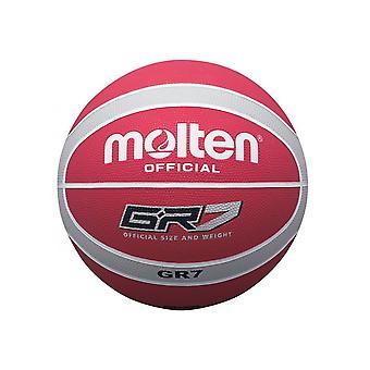 Serie BGR fundida coloreada interior / exterior rojo / plata 12 panel Nylon Basketball