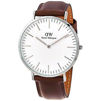 Daniel Wellington Bristol White Dial Men's Brown Leather Watch DW00100023