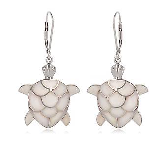 ADEN 925 sterlinghopea valkoinen helmivaha kilpikonna korvakorut (id 4496)