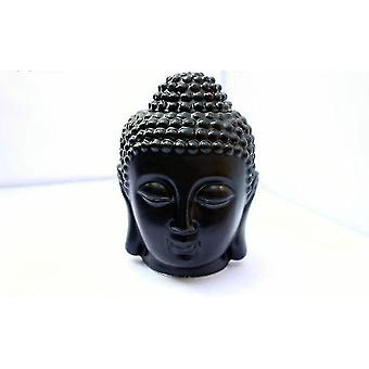 Candle oil warmers ceramic calm buddha head aromatic oil incense burner black