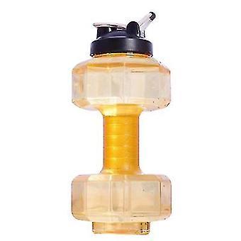 2,5L Hantel Fitness Wasserflasche, tragbarer Wasserbecher kann als Fitnessgerät verwendet werden (Gelb)