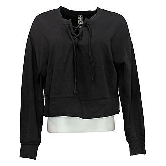 WVVY by Fitty Britttty Women's Sweater Lace-Up Sweatshirt Black 729801