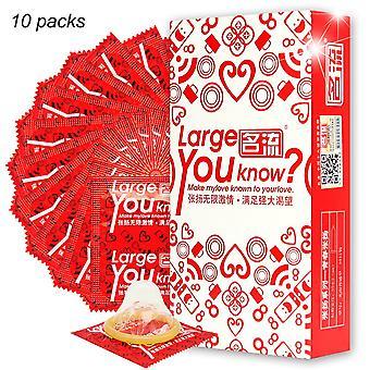 10pcs Préservatifs en latex naturel Grande taille Penis Sleeve Préservatifs Adult Sex Toys