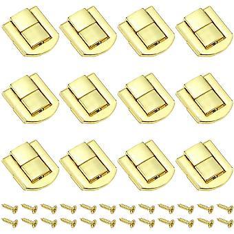 12 pièces À bascule Étui à bagages Fermoir à bagages 20 x 25 mm Serrure à verrou en bois Serrure à bascule Serrures à verrouillage vintage Serrures à verrou à verrou Avec vis - Or