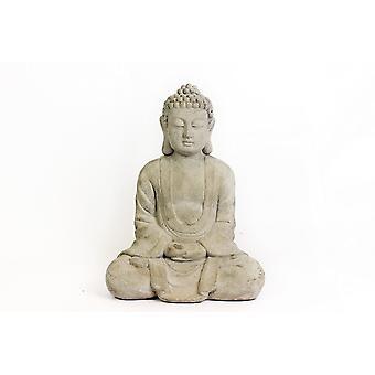 37X28CM SITZENDEN BUDDHA KERAMIK HAUS GARTEN DEKORATION WEIßE FIGUR