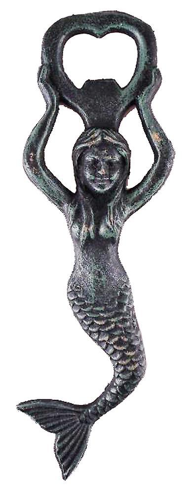 Large Reproduction Iron Mermaid Bottle Opener Green