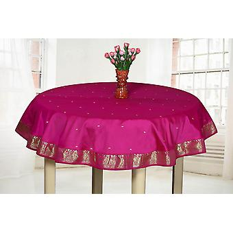 Violet Red - Handmade Sari Tablecloth (India) - Round