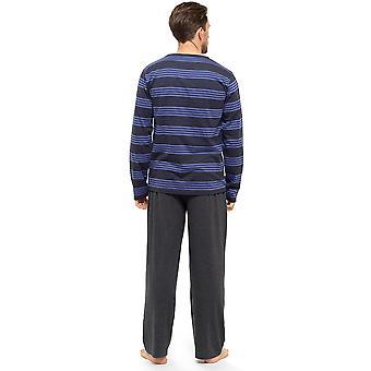 חולצת פסים לגברים עם שרוולים ארוכים ומכנסיים טרקלין פיג'מה ללבוש XXL כחול-אפור