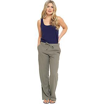 Mujeres color sólido acanalado cintura lino pantalón pantalón pantalones Khaki 10