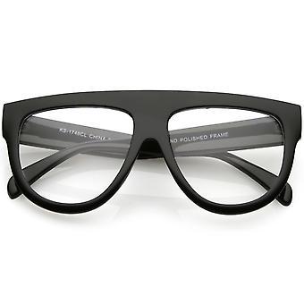 Corno di occhiali Aviator Flat Top oversize cerchiati dettagli braccia ampia lente trasparente 56mm