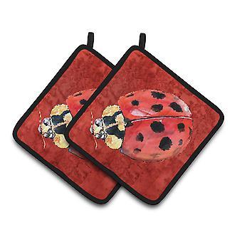 Carolines Treasures  8870PTHD Lady Bug on Deep Red Pair of Pot Holders