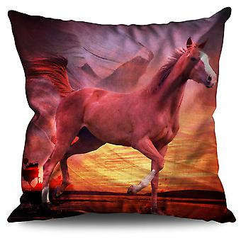 Native American Horse Linen Cushion 30cm x 30cm | Wellcoda