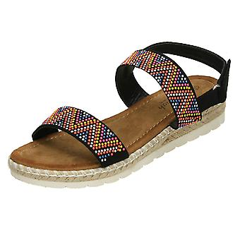 Dames Savannah gekleurde bezaaid sandalen - Tan textiel - UK Size 8 - EU maat 41 - US maat 10