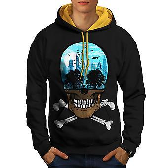 Head City Face Art Skull Men Black (Gold Hood)Contrast Hoodie | Wellcoda