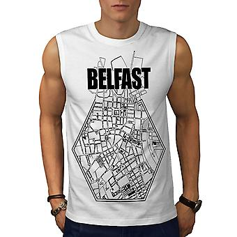 Stadtplan Belfast City Männer WhiteSleeveless T-shirt | Wellcoda