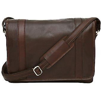"Genuine Leather Messenger Shoulder Bag With 13"" Laptop Pocket Briefcase Business Made In Italy"