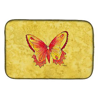 Mariposa de 8857DDM de tesoros de Carolines en plato amarillo secado Mat