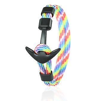 Patrón ancla brazalete 21 cm nylon brazo joyas multicolor con ancla negra 6968