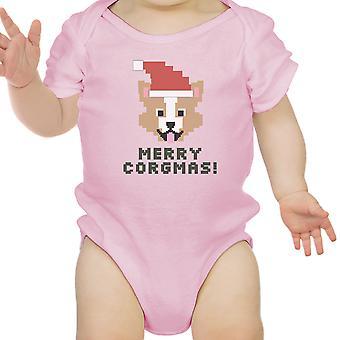 メリー Corgmas コーギー ピンク ベビー ボディー スーツかわいいクリスマス赤ちゃんはギフト アイデア