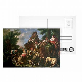 Group of shepherds with a horse by Domenico.. - Postcard (Pack of 8) - Art247 Highest Quality