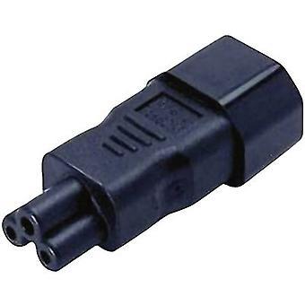 Nätadapter IEC C14 stickkontakt - C5 Musse Pigg-uttag Totalt antal stift: 2 + PE Svart 1 st(ar)