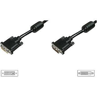 Digitus DVI Kabelforlængelse 4,50 m skrues sort [1x DVI-stik 25-benet - 1x DVI-stik 25-benet]