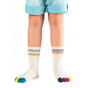 Knitido Rainbow kids, anti-slip socks with colored toes for children