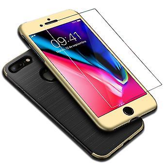 أي فون 7 زائد 2 في 1 قضية الذهب القضية تغطية كاملة 360 درجة