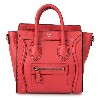 Celine Nano Luggage Red Baby Grained Calfskin Leather Nano Luggage Shoulder Bag