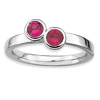 925 Sterling Silver Bezel Polished Rhodium-plated Stackable Expressions Db Round Created Ruby Ring - Ring Size: 5 to 10