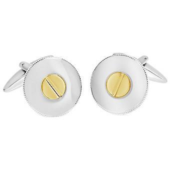 David Van Hagen Shiny cerchio martellata Rim vite Design gemelli - oro/argento