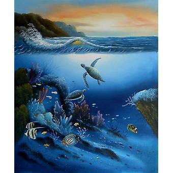 Pescados en el mar, pintura al óleo sobre lienzo, 50x60 cm