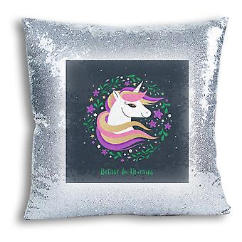 i-Tronixs - Unicorn Printed Design Silver Sequin Cushion / Pillow Cover with Inserted Pillow for Home Decor - 10