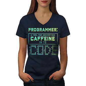Programmierer Caffeine Frauen NavyV-Neck T-Shirt | Wellcoda