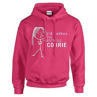 Ladies I'd Rather Be Watching Corrie Hoodie Hot Pink Hoody