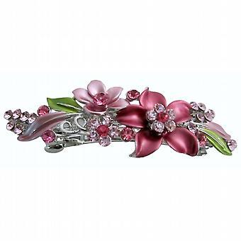 Prom hår hårspänne rosa blomma emalj gröna blad kristaller hår klipp