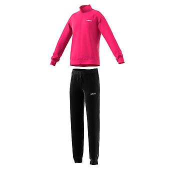 adidas Linear Essential Girls Full Zip Polyester Tracksuit Set Pink/Black